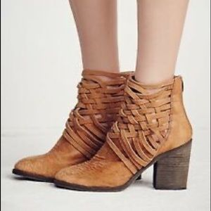 Free People Carrera Woven Caged Booties Cognac 39